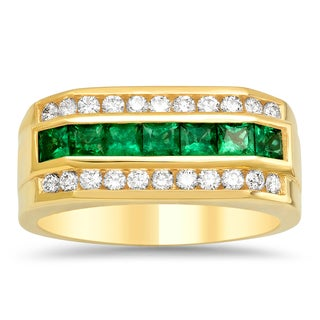 Artistry Collections 14k Yellow Gold 4/5ct TDW Diamond and 1 1/4 ct TGW Emerald Men's Ring