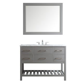 Foligno Grey 48-inch Single-sink Vanity with White Marble Top and Mirror