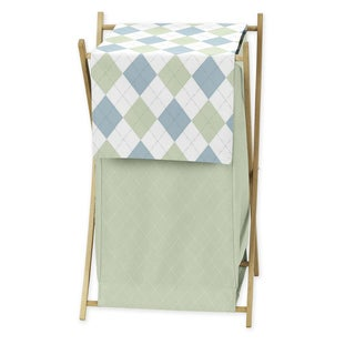 Sweet Jojo Designs Blue and Green Argyle Collection Laundry Hamper