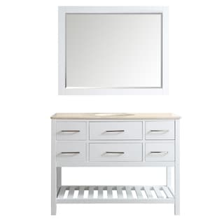 Foligno 48-inch White Single Vanity with Creama Marfil Marble Top with Mirror
