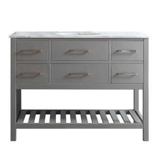 Foligno 48-inch Grey with Carrara White Marble Top Single Vanity