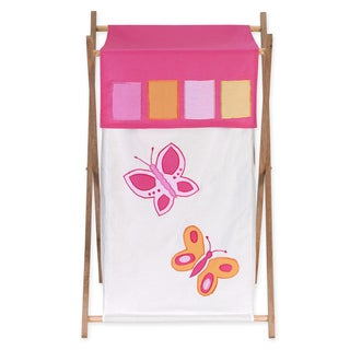 Sweet Jojo Designs Butterfly Collection Pink and Orange Laundry Hamper