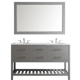 Foligno Grey 60-inch Double Vanity with Carrara White Marble Top and Mirror