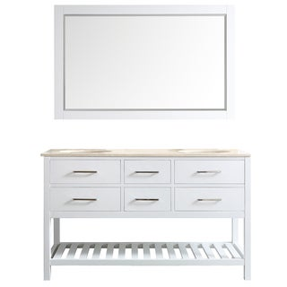 Foligno 60-inch White Double Vanity with Creama Marfil Marble Top with Mirror