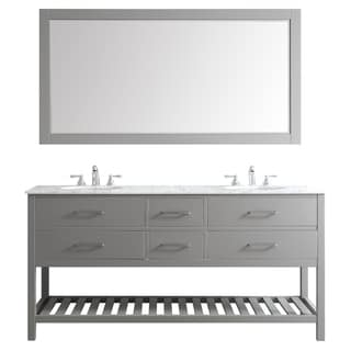Foligno Grey with Carrara White Marble Top 72-inch Double Vanity with Mirror