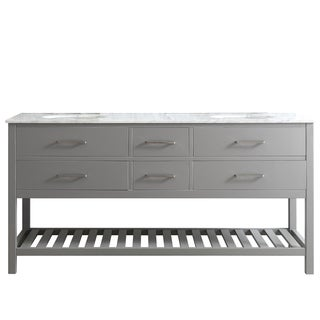 Foligno Grey 72-inch Double-sink Vanity with White Marble Top