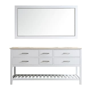 Foligno White 72-inch Double Vanity With Creama Marfil Marble Top and Mirror