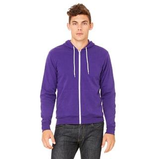 Unisex Purple Poly-Cotton Fleece Full-Zip Hoodie