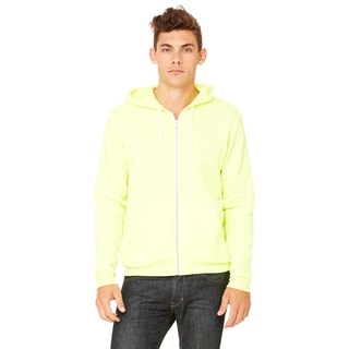 Unisex Poly-Cotton Fleece Neon Yellow Full-zip Hoodie