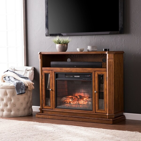 Shop Copper Grove Rolley Oak Media Console Stand Infrared