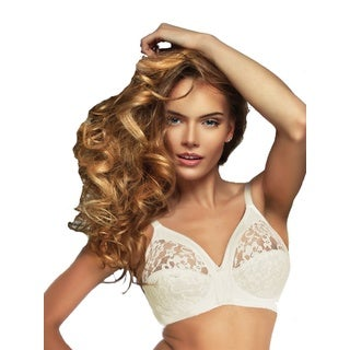 White Polyester/Polyamide/Elastane Lace Unlined Wireless Full-coverage Minimizing Bra