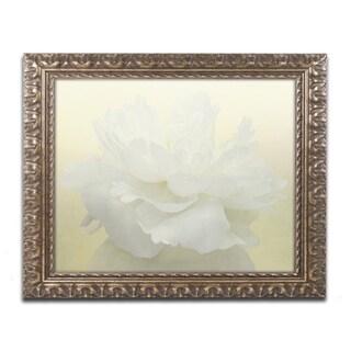 Cora Niele 'Pure White Peony' Ornate Framed Art