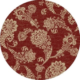 Valencia Collection Boteh 5 Foot Polypropylene Paisley Round Rug