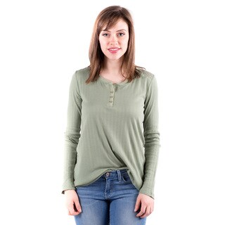 DownEast Basics Women's Lane Green Cotton/Nylon Henley Top