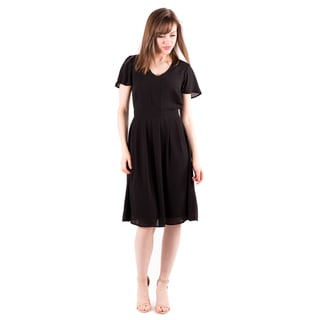 DownEast Basics Women's Black Polyester Flutter Dress