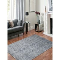 Hand-Knotted Abigail White Ice Art Silk Area Rug - 6' x 9'