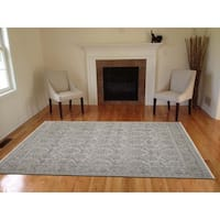 Hand-Knotted Eden Silver Art Silk Area Rug (8'x10') - 8' x 10'