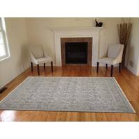 Hand-Knotted Eden Silver Art Silk Area Rug (10'X14') - 10' x 14'