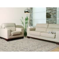 Hand-Knotted Eden Ivory Art Silk Area Rug - 6' x 9'