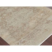 Hand-Knotted Grace Ivory/ Sand Wool and Silk Area Rug - 2' x 3'