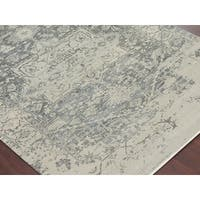 Hand-Knotted Grace Ivory/ Iron Wool and Silk Area Rug (2'x3') - 2' x 3'