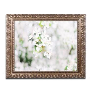 Ariane Moshayedi 'White Cherry Blossoms 3' Ornate Framed Art