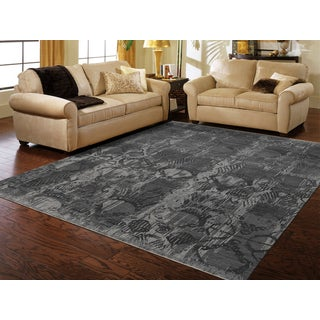 Hand-Knotted Grace Slate Gray Wool and Silk Area Rug (9'x12')