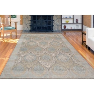 Hand-Knotted Grace Silver Sand Wool and Silk Area Rug (9'x12')