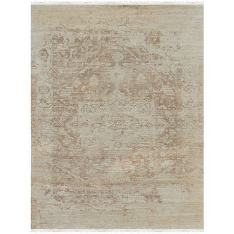 Hand-Knotted Grace Ivory/ Sand Wool and Silk Area Rug (9'x12') - 9' x 12'