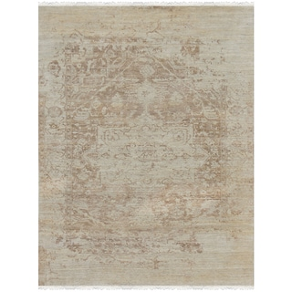 Hand-Knotted Grace Ivory/ Sand Wool and Silk Area Rug (9'x12')