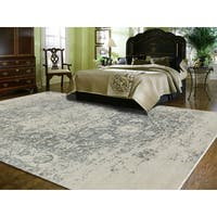 Hand-Knotted Grace Ivory/ Iron Wool and Silk Area Rug (9'x12') - 9' x 12'