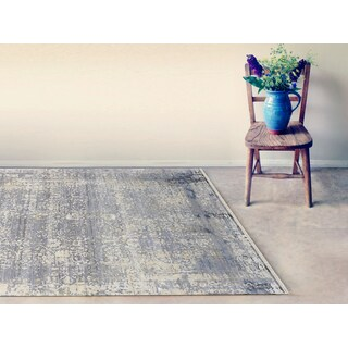 Hand-Knotted Grace Silver/ Sand Wool and Silk Area Rug (9'x12')