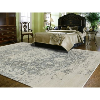 Hand-Knotted Grace Ivory/ Iron Wool and Silk Area Rug (10'x14')