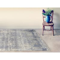 Hand-Knotted Grace Silver/ Sand Wool and Silk Area Rug (6'x9') - 6' x 9'