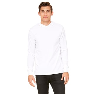 Unisex White Jersey Long-sleeve Hoodie