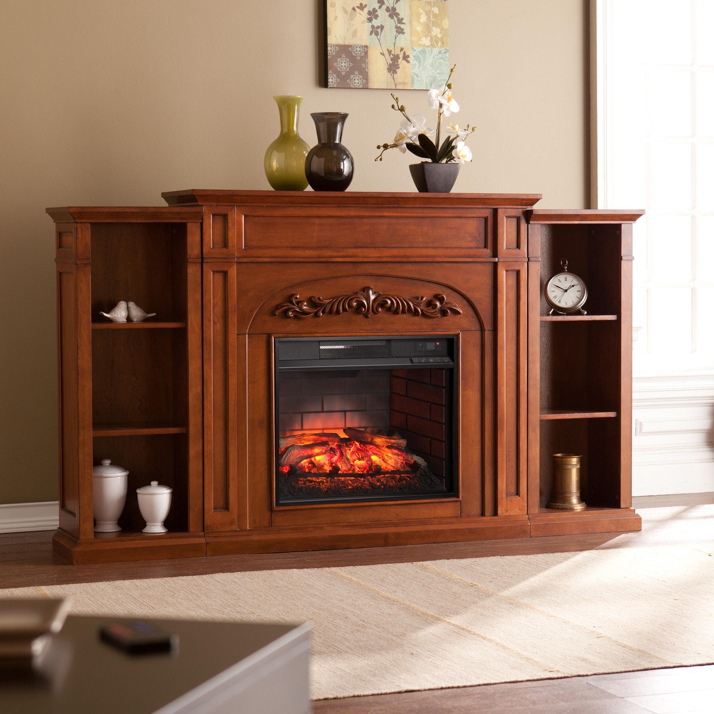 harper blvd oxley autumn oak bookcase infrared electric fireplace ebay. Black Bedroom Furniture Sets. Home Design Ideas