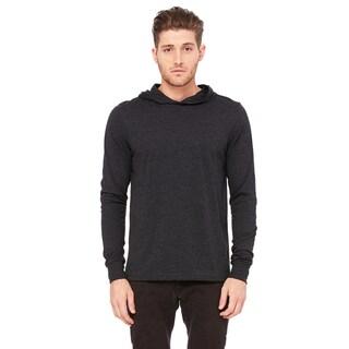 Unisex Charcoal Black Cotton Long-sleeved Hoodie