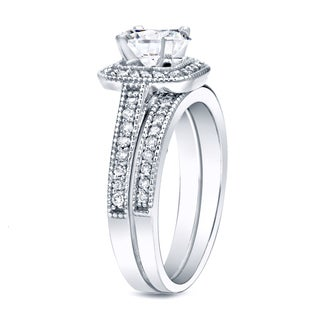 auriya platinum 1ct tdw certified round diamond vintage inspired bridal ring set - Platinum Wedding Ring Sets