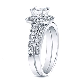 Auriya Platinum 1ct TDW Certified Vintage Diamond Halo Engagement Ring Set