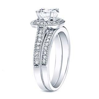 Auriya Platinum 1ct TDW Vintage-Inspired Certified Diamond Halo Engagement Ring Set