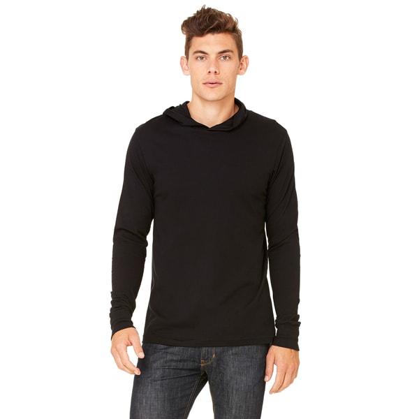 Unisex Black Cotton Jersey Long-sleeve Hoodie