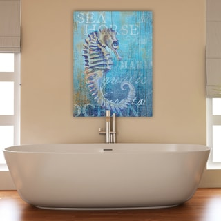 Portfolio Canvas Decor Ali Zoe 'Seahorse and Sea Crop' Stretched and Wrapped Canvas Print Wall Art