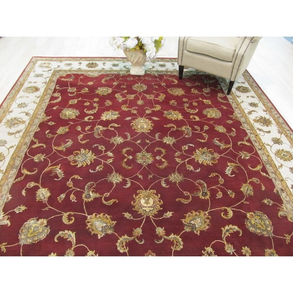 Hand Tufted Traditional Oriental Red Wool Rug With Non: Shop Hand-knotted Wool & Silk Red Traditional Oriental