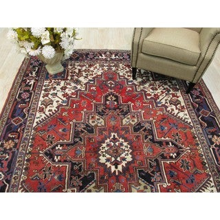 EORC Hand Knotted Wool Rust Heriz Rug ( 6'11 x 9'5)