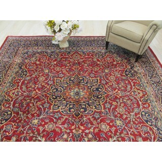 EORC Hand Knotted Wool Red Mashad Rug ( 9'7 x 9'10)
