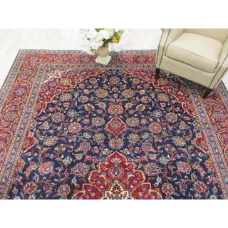 EORC Hand Knotted Wool Navy Kashan Rug ( 9' x 13'3)