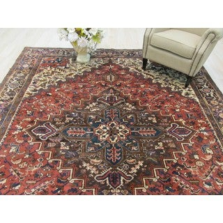 EORC Hand Knotted Wool Rust Heriz Rug ( 8'9 x 10'9)