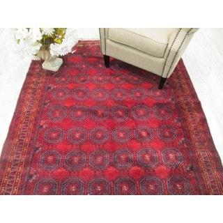Hand-knotted Wool Rust Traditional Geometric Baluchi Rug (5'5 x 11'1)