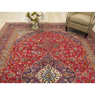 EORC Hand Knotted Wool Red Kashan Rug ( 9'8 x 13')