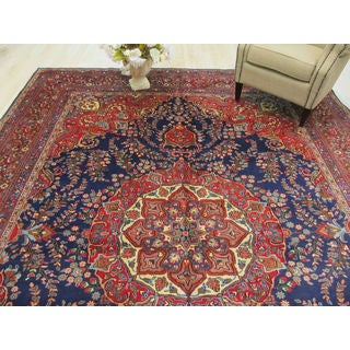 EORC Hand Knotted Wool Blue Mashad Rug ( 9'9 x 13')